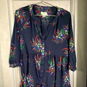 Blue floral cotton long top